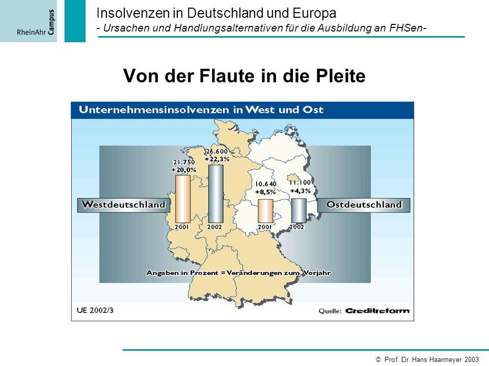 Von der Flaute in die Pleite Insolvenzen in Deutschland und Europa - Ursachen und Handlungsalternativen für die Ausbildung an FHSen- © Prof. Dr. Hans