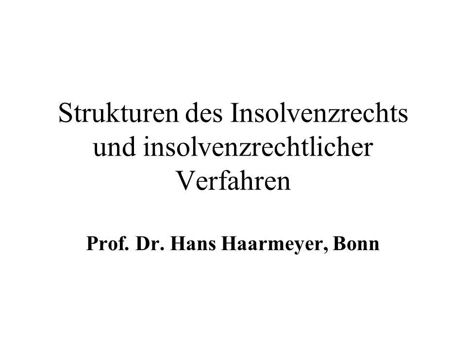 Strukturen des Insolvenzrechts und insolvenzrechtlicher Verfahren Prof. Dr. Hans Haarmeyer, Bonn
