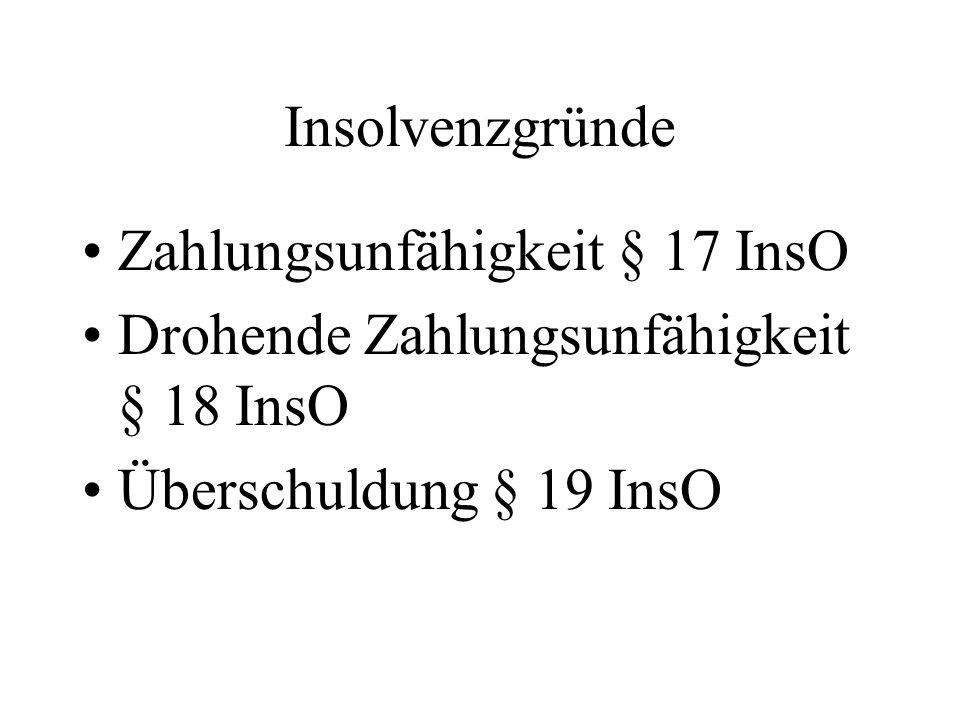 Insolvenzgründe Zahlungsunfähigkeit § 17 InsO Drohende Zahlungsunfähigkeit § 18 InsO Überschuldung § 19 InsO