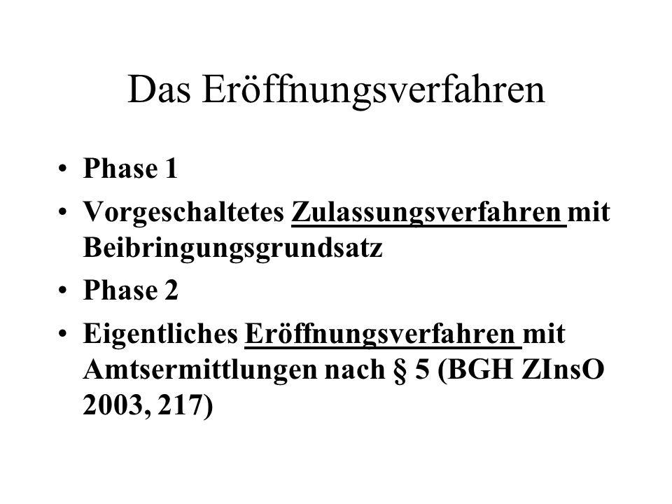 Das Eröffnungsverfahren Phase 1 Vorgeschaltetes Zulassungsverfahren mit Beibringungsgrundsatz Phase 2 Eigentliches Eröffnungsverfahren mit Amtsermittl