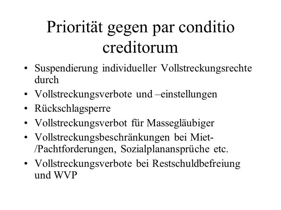 Priorität gegen par conditio creditorum Suspendierung individueller Vollstreckungsrechte durch Vollstreckungsverbote und –einstellungen Rückschlagsper