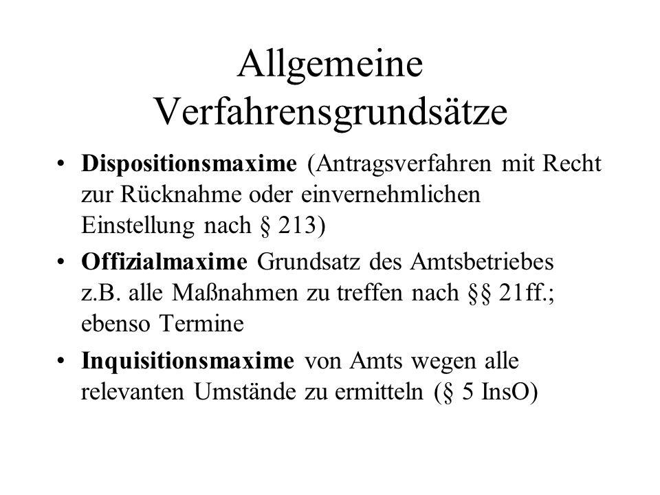 Allgemeine Verfahrensgrundsätze Dispositionsmaxime (Antragsverfahren mit Recht zur Rücknahme oder einvernehmlichen Einstellung nach § 213) Offizialmax