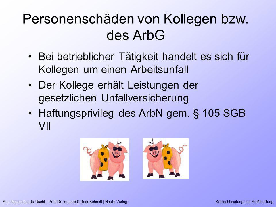 Aus Taschenguide Recht | Prof.Dr. Irmgard Küfner-Schmitt | Haufe VerlagSchlechtleistung und ArbNhaftung Personenschäden von Kollegen bzw. des ArbG Bei