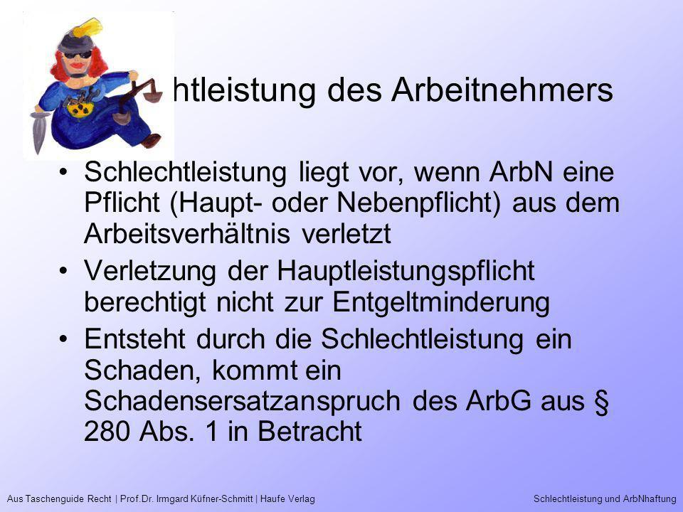 Aus Taschenguide Recht | Prof.Dr. Irmgard Küfner-Schmitt | Haufe VerlagSchlechtleistung und ArbNhaftung Schlechtleistung des Arbeitnehmers Schlechtlei