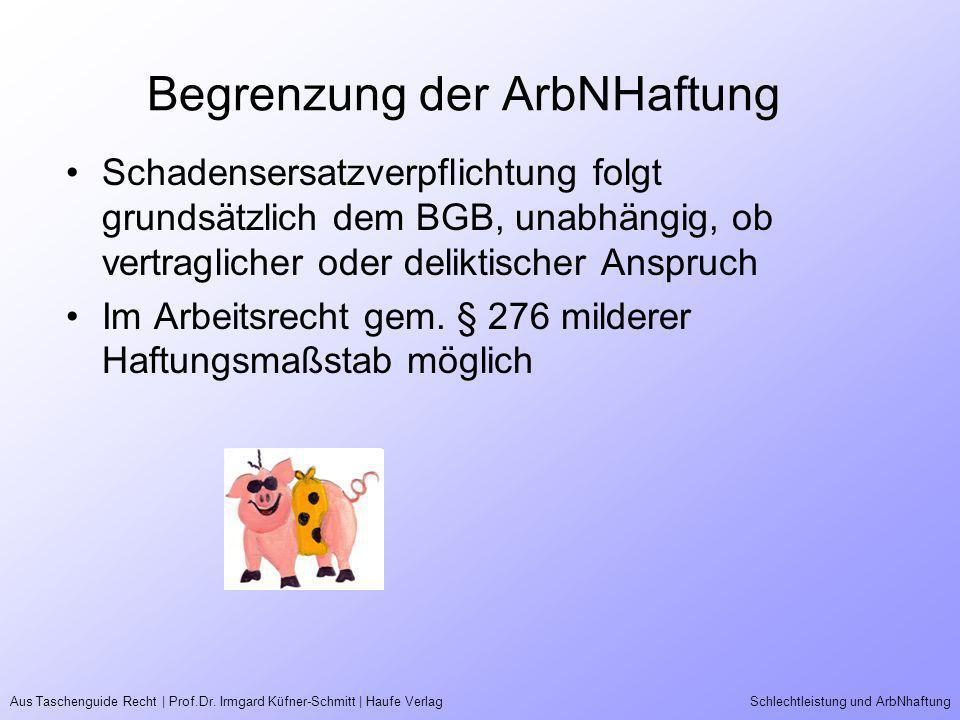 Aus Taschenguide Recht | Prof.Dr. Irmgard Küfner-Schmitt | Haufe VerlagSchlechtleistung und ArbNhaftung Begrenzung der ArbNHaftung Schadensersatzverpf