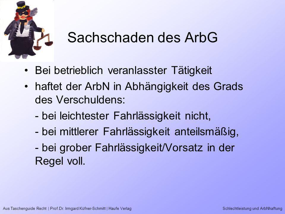 Aus Taschenguide Recht | Prof.Dr. Irmgard Küfner-Schmitt | Haufe VerlagSchlechtleistung und ArbNhaftung Sachschaden des ArbG Bei betrieblich veranlass