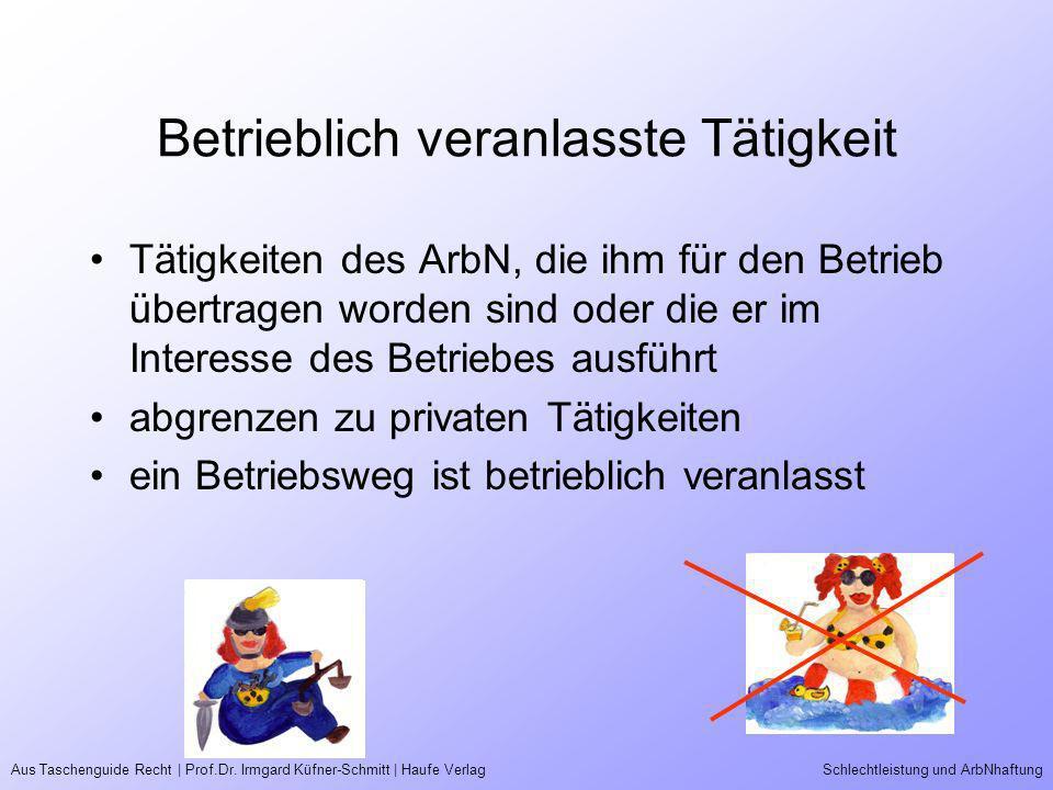 Aus Taschenguide Recht | Prof.Dr. Irmgard Küfner-Schmitt | Haufe VerlagSchlechtleistung und ArbNhaftung Betrieblich veranlasste Tätigkeit Tätigkeiten