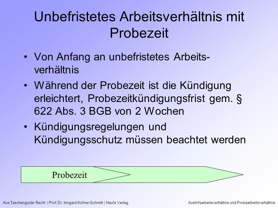 Aus Taschenguide Recht   Prof.Dr. Irmgard Küfner-Schmitt   Haufe VerlagAushifsarbeitsverhältnis und Probearbeitsverhältnis Unbefristetes Arbeitsverhäl