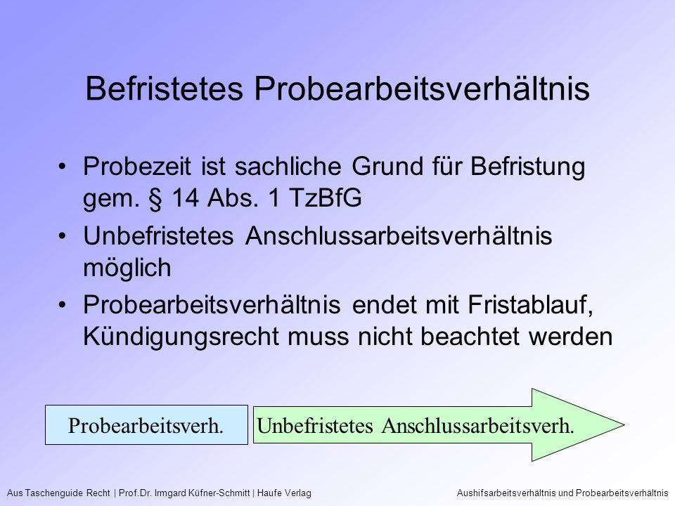 Aus Taschenguide Recht   Prof.Dr. Irmgard Küfner-Schmitt   Haufe VerlagAushifsarbeitsverhältnis und Probearbeitsverhältnis Befristetes Probearbeitsver