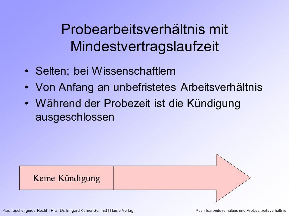 Aus Taschenguide Recht   Prof.Dr. Irmgard Küfner-Schmitt   Haufe VerlagAushifsarbeitsverhältnis und Probearbeitsverhältnis Probearbeitsverhältnis mit