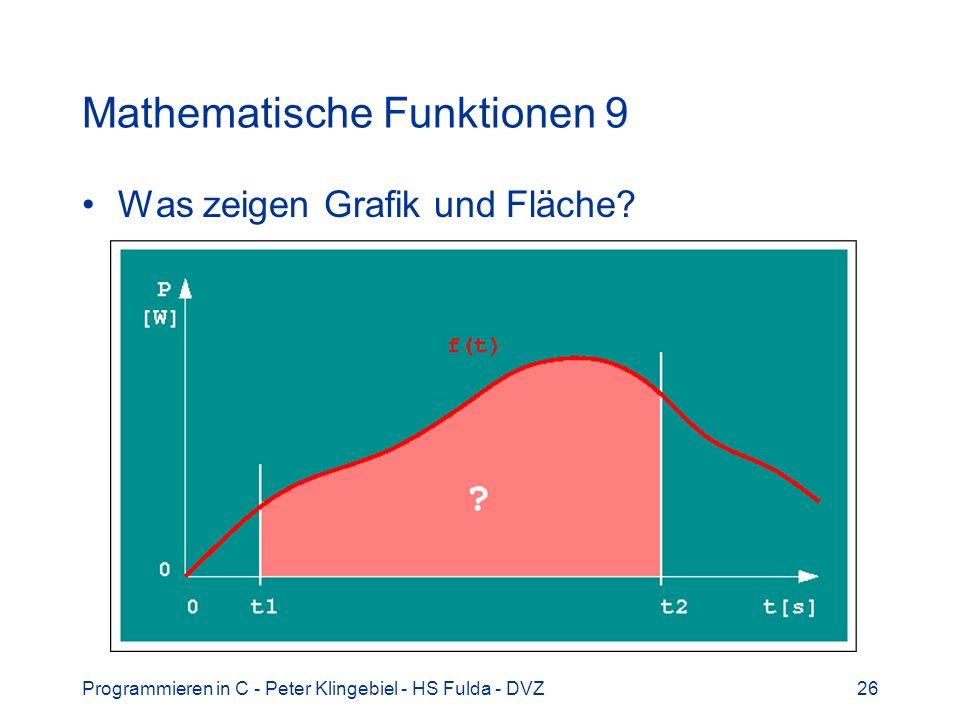 Programmieren in C - Peter Klingebiel - HS Fulda - DVZ26 Mathematische Funktionen 9 Was zeigen Grafik und Fläche?
