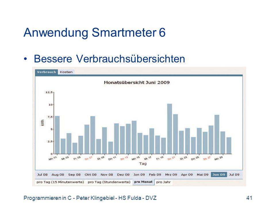 Programmieren in C - Peter Klingebiel - HS Fulda - DVZ41 Anwendung Smartmeter 6 Bessere Verbrauchsübersichten