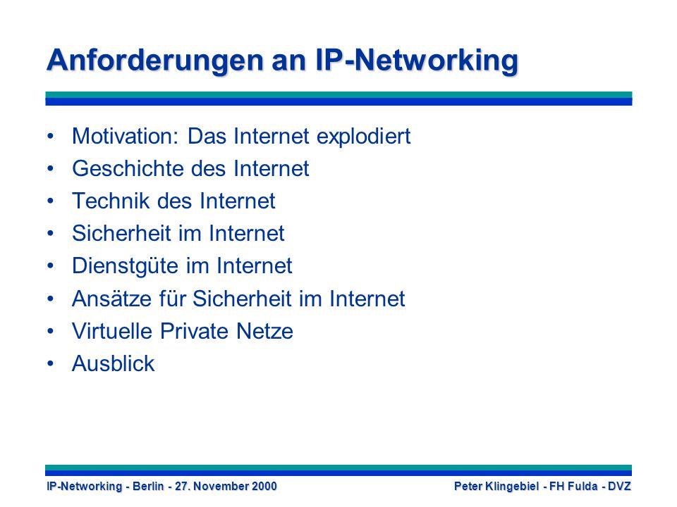 Anforderungen an IP-Networking Motivation: Das Internet explodiert Geschichte des Internet Technik des Internet Sicherheit im Internet Dienstgüte im Internet Ansätze für Sicherheit im Internet Virtuelle Private Netze Ausblick