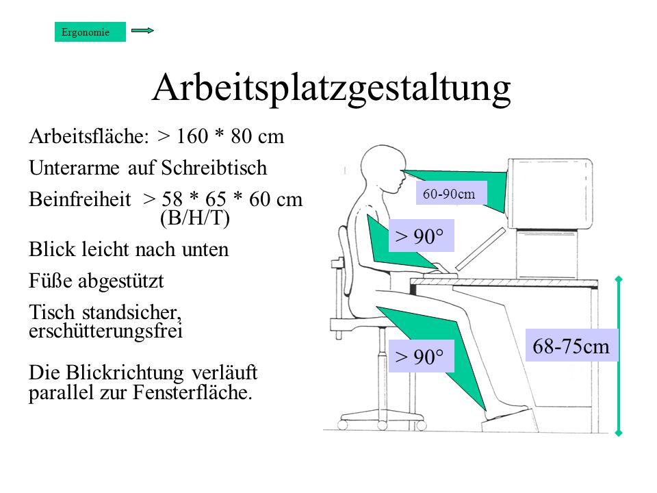 Arbeitsplatzgestaltung Ergonomie > 90° 60-90cm 68-75cm Arbeitsfläche: > 160 * 80 cm Unterarme auf Schreibtisch Beinfreiheit > 58 * 65 * 60 cm (B/H/T)