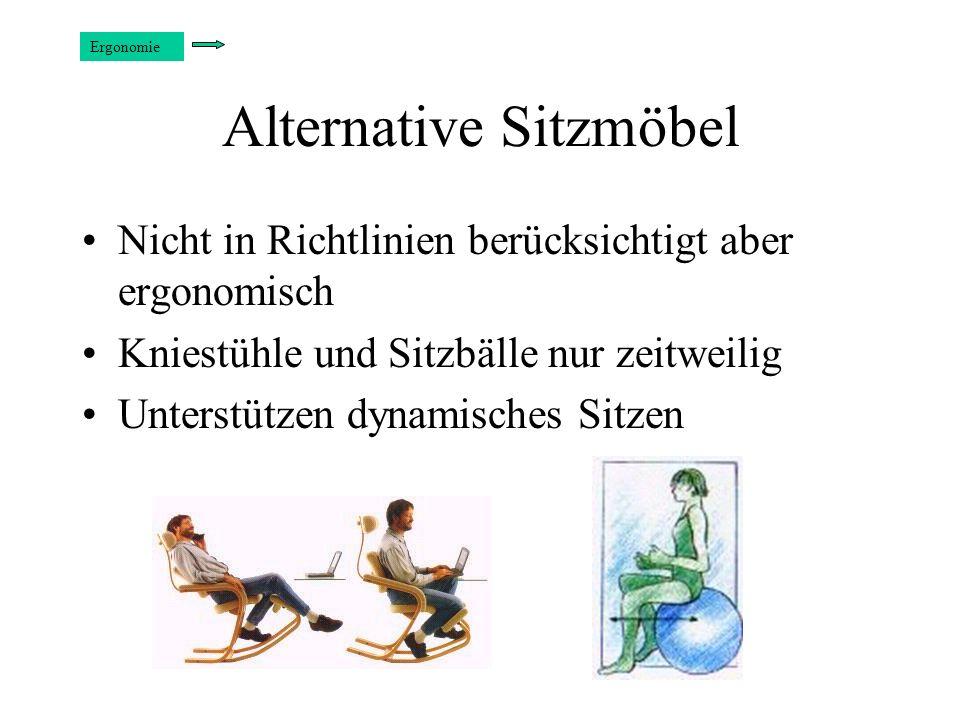 Alternative Sitzmöbel Nicht in Richtlinien berücksichtigt aber ergonomisch Kniestühle und Sitzbälle nur zeitweilig Unterstützen dynamisches Sitzen Erg