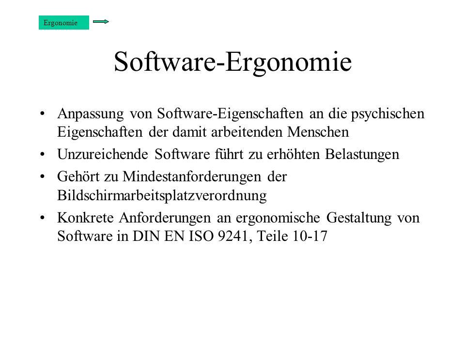 Software-Ergonomie Anpassung von Software-Eigenschaften an die psychischen Eigenschaften der damit arbeitenden Menschen Unzureichende Software führt z