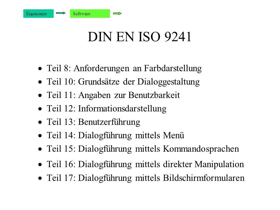 DIN EN ISO 9241 Teil 8: Anforderungen an Farbdarstellung Teil 10: Grundsätze der Dialoggestaltung Teil 11: Angaben zur Benutzbarkeit Teil 12: Informat