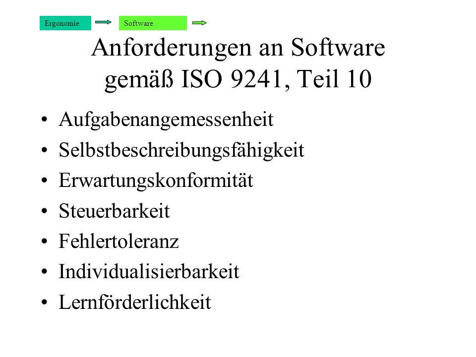 Anforderungen an Software gemäß ISO 9241, Teil 10 Aufgabenangemessenheit Selbstbeschreibungsfähigkeit Erwartungskonformität Steuerbarkeit Fehlertolera