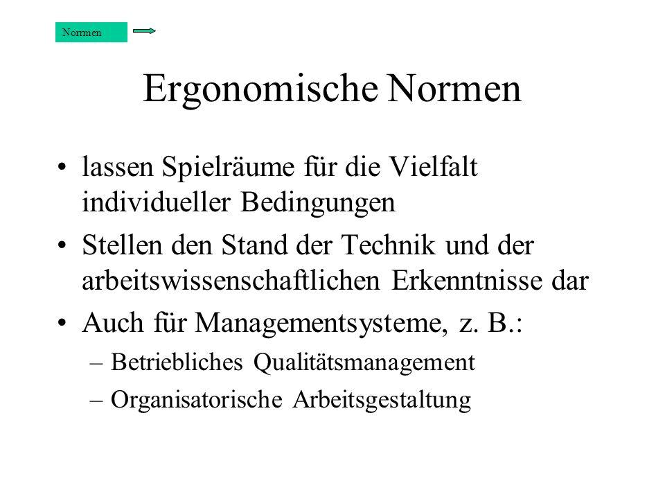 Normungsorganisationen Deutsche Institut für Normung (DIN) International: –International Electrotechnical Commission (IEC) –International Standardization Organization (ISO) – ITU, IAEA, ILO, WHO,...