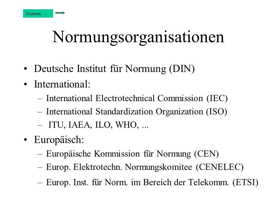 Normungsorganisationen Deutsche Institut für Normung (DIN) International: –International Electrotechnical Commission (IEC) –International Standardizat