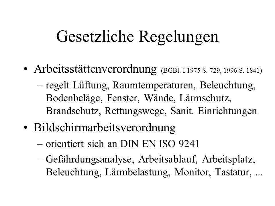 Gesetzliche Regelungen Arbeitsstättenverordnung (BGBl. I 1975 S. 729, 1996 S. 1841) –regelt Lüftung, Raumtemperaturen, Beleuchtung, Bodenbeläge, Fenst