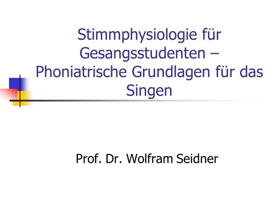 Stimmphysiologie für Gesangsstudenten – Phoniatrische Grundlagen für das Singen Prof. Dr. Wolfram Seidner