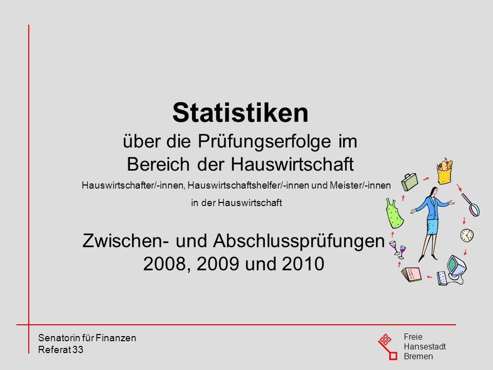 Freie Hansestadt Bremen Senatorin für Finanzen Referat 33 Zwischen- und Abschlussprüfungen 2008, 2009 und 2010 Statistiken über die Prüfungserfolge im