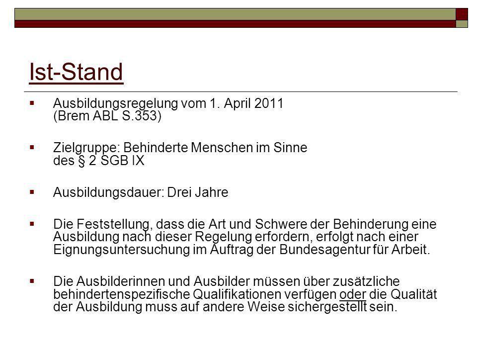 Ist-Stand Ausbildungsregelung vom 1. April 2011 (Brem ABL S.353) Zielgruppe: Behinderte Menschen im Sinne des § 2 SGB IX Ausbildungsdauer: Drei Jahre