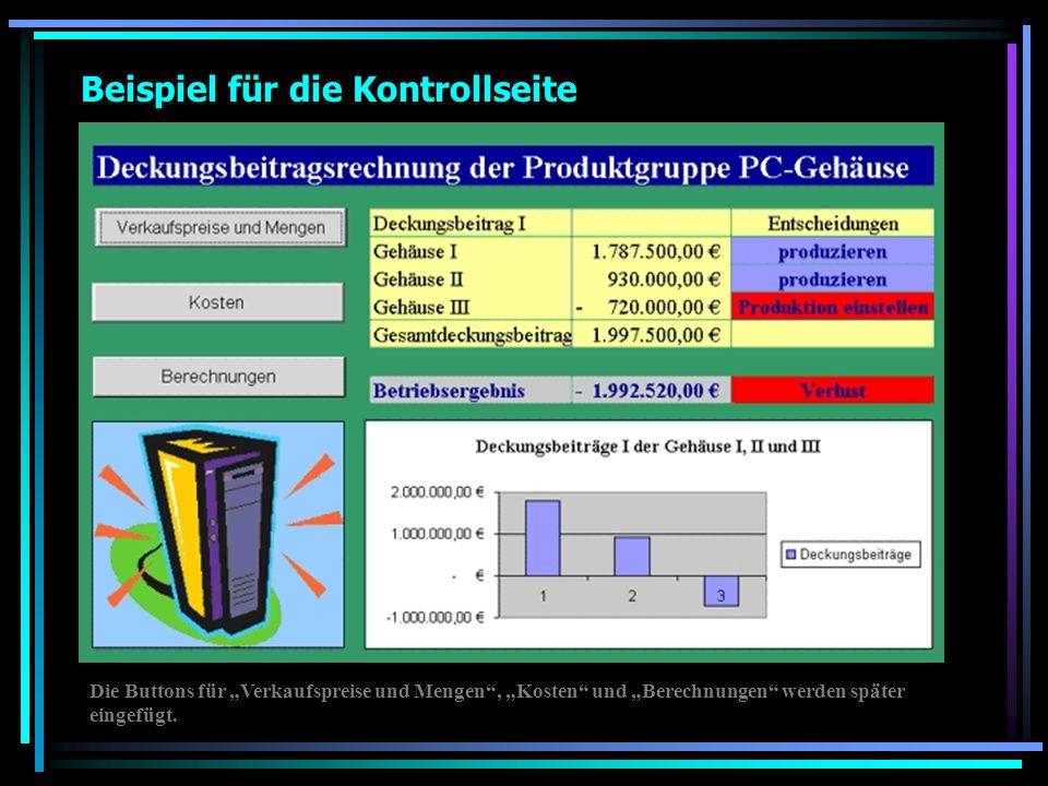 Beispiel für die Kontrollseite Die Buttons für Verkaufspreise und Mengen, Kosten und Berechnungen werden später eingefügt.