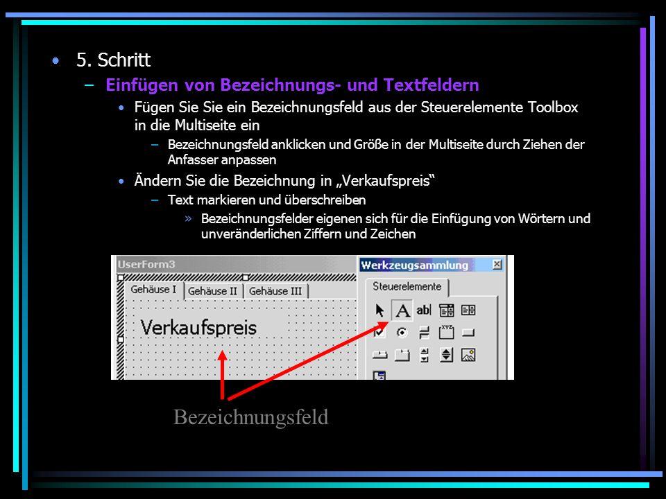 5. Schritt –Einfügen von Bezeichnungs- und Textfeldern Fügen Sie Sie ein Bezeichnungsfeld aus der Steuerelemente Toolbox in die Multiseite ein –Bezeic