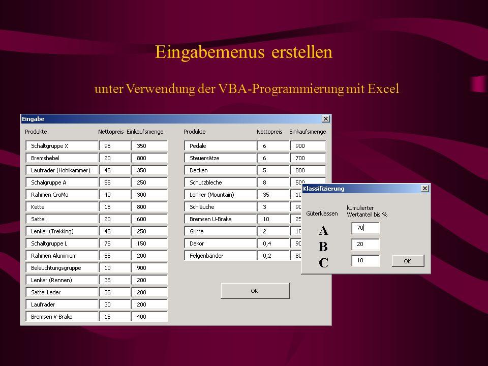 Eingabemenus erstellen unter Verwendung der VBA-Programmierung mit Excel