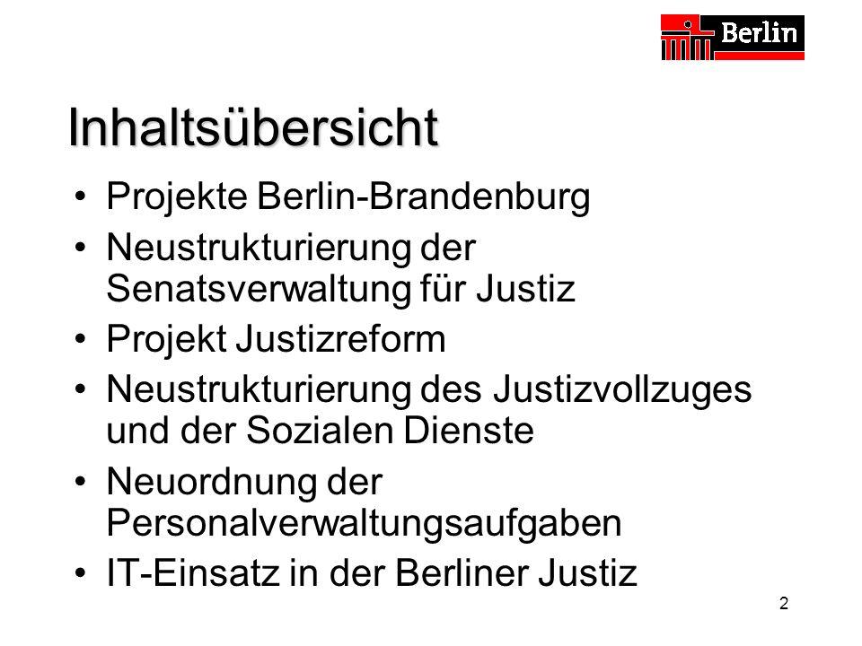 2 Inhaltsübersicht Projekte Berlin-Brandenburg Neustrukturierung der Senatsverwaltung für Justiz Projekt Justizreform Neustrukturierung des Justizvollzuges und der Sozialen Dienste Neuordnung der Personalverwaltungsaufgaben IT-Einsatz in der Berliner Justiz
