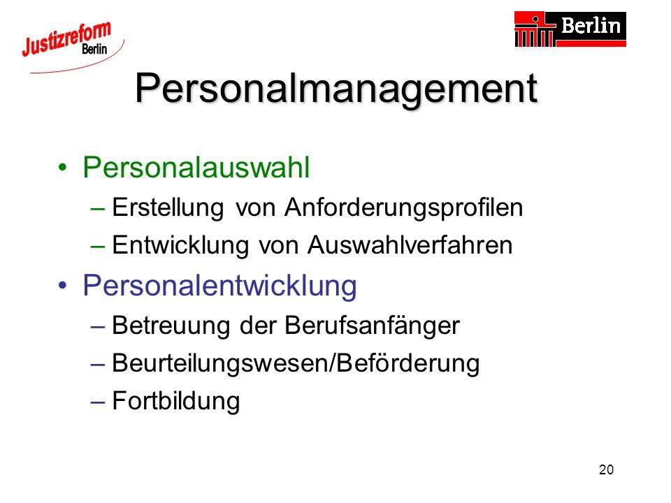 20 Personalmanagement Personalauswahl –Erstellung von Anforderungsprofilen –Entwicklung von Auswahlverfahren Personalentwicklung –Betreuung der Berufsanfänger –Beurteilungswesen/Beförderung –Fortbildung