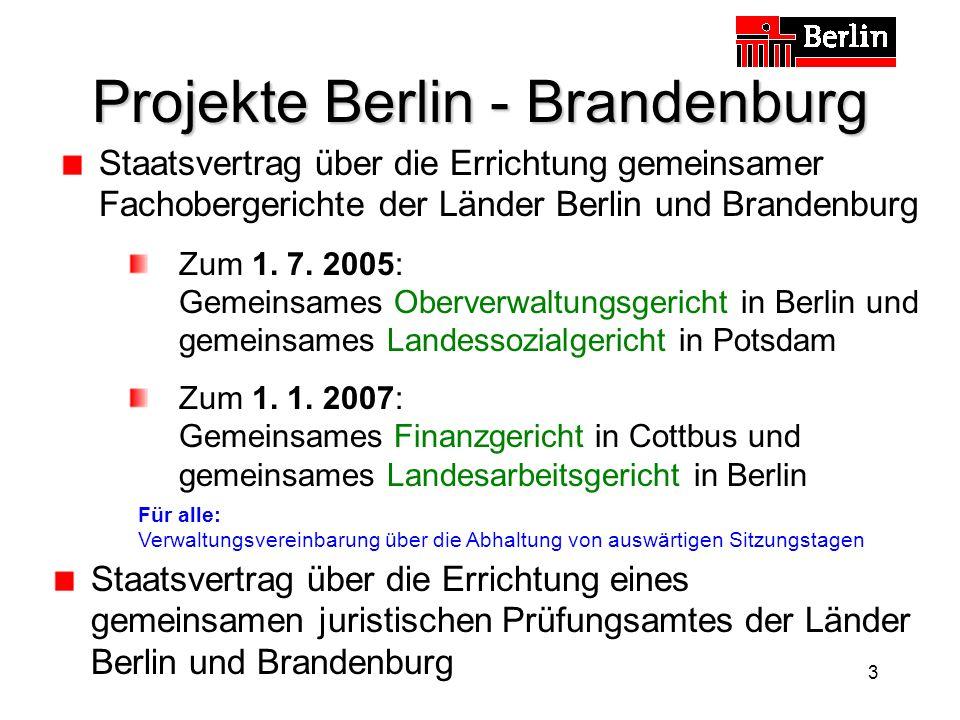3 Projekte Berlin - Brandenburg Staatsvertrag über die Errichtung gemeinsamer Fachobergerichte der Länder Berlin und Brandenburg Zum 1.