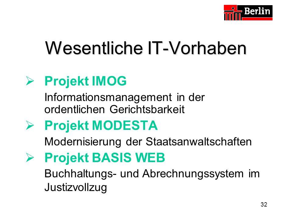 32 Wesentliche IT-Vorhaben Projekt IMOG Informationsmanagement in der ordentlichen Gerichtsbarkeit Projekt MODESTA Modernisierung der Staatsanwaltschaften Projekt BASIS WEB Buchhaltungs- und Abrechnungssystem im Justizvollzug