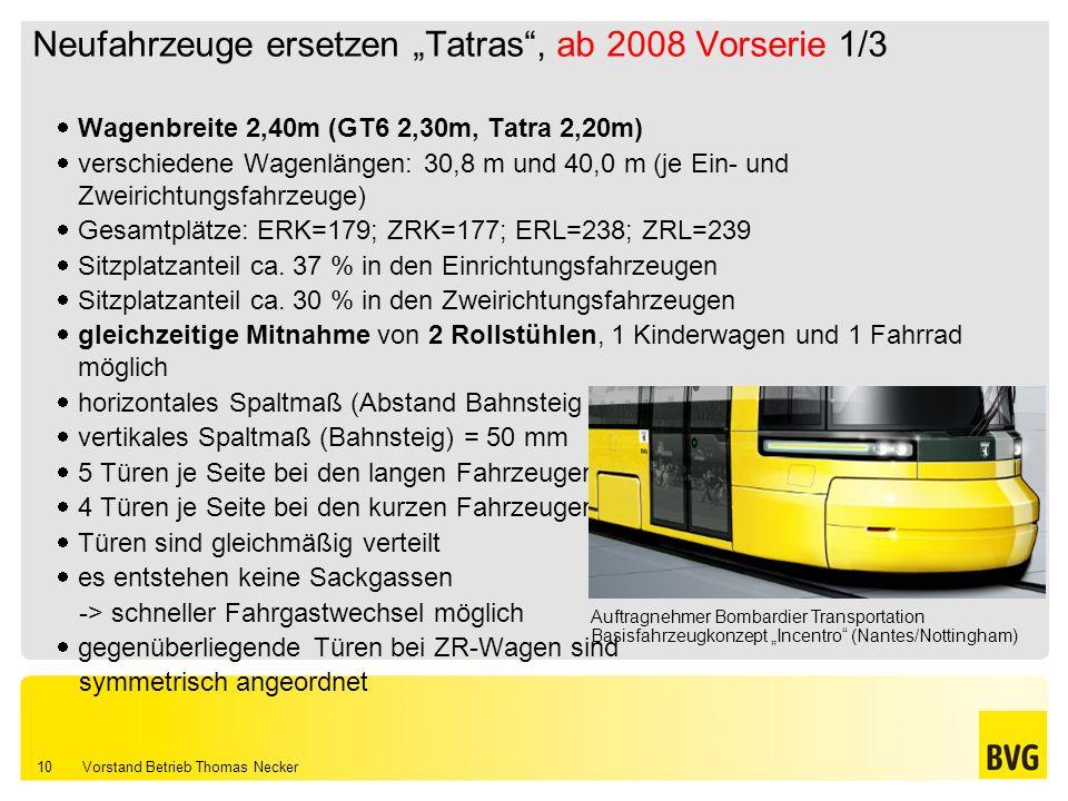 Vorstand Betrieb Thomas Necker 10 Neufahrzeuge ersetzen Tatras, ab 2008 Vorserie 1/3 Wagenbreite 2,40m (GT6 2,30m, Tatra 2,20m) verschiedene Wagenläng