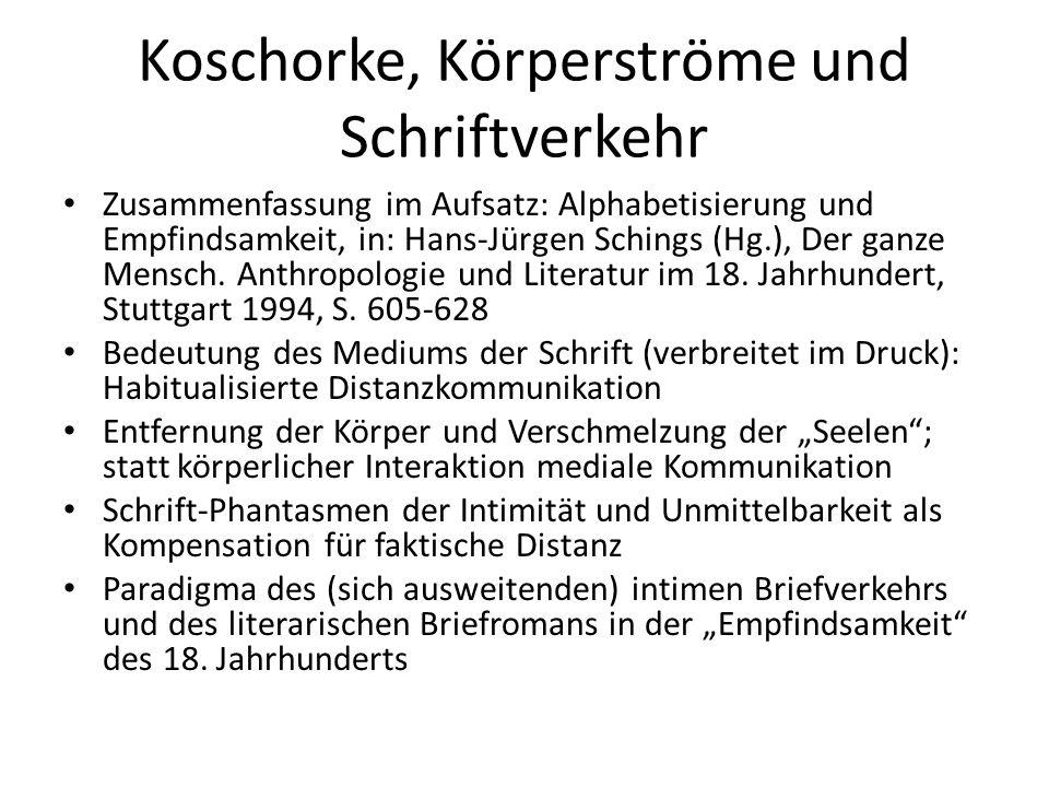 Koschorke, Körperströme und Schriftverkehr Zusammenfassung im Aufsatz: Alphabetisierung und Empfindsamkeit, in: Hans-Jürgen Schings (Hg.), Der ganze M