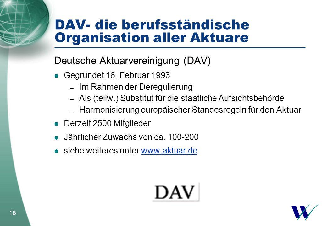 18 DAV- die berufsständische Organisation aller Aktuare Deutsche Aktuarvereinigung (DAV) Gegründet 16. Februar 1993 – Im Rahmen der Deregulierung – Al