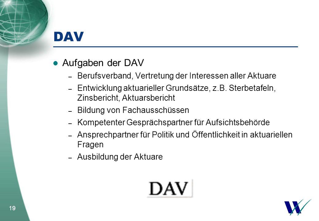 19 DAV Aufgaben der DAV – Berufsverband, Vertretung der Interessen aller Aktuare – Entwicklung aktuarieller Grundsätze, z.B. Sterbetafeln, Zinsbericht