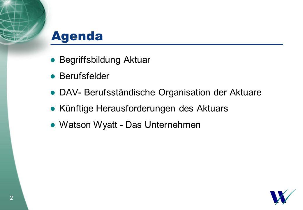 2 Begriffsbildung Aktuar Berufsfelder DAV- Berufsständische Organisation der Aktuare Künftige Herausforderungen des Aktuars Watson Wyatt - Das Unterne