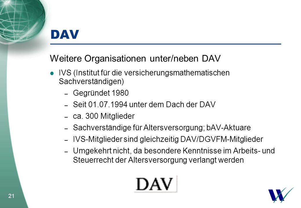 21 DAV Weitere Organisationen unter/neben DAV IVS (Institut für die versicherungsmathematischen Sachverständigen) – Gegründet 1980 – Seit 01.07.1994 u