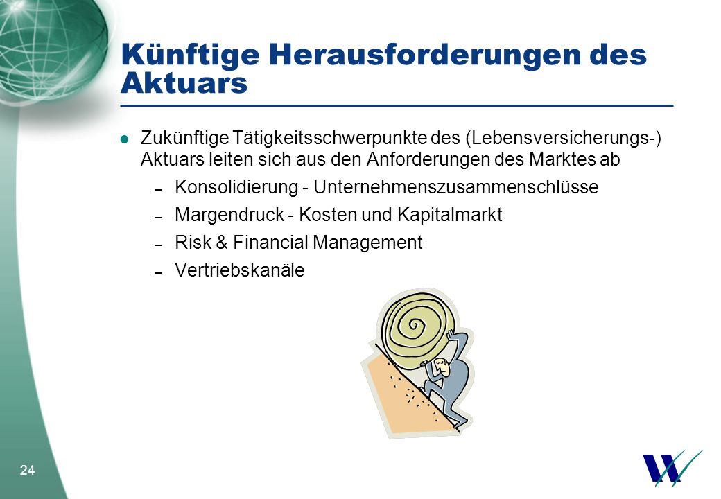 24 Künftige Herausforderungen des Aktuars Zukünftige Tätigkeitsschwerpunkte des (Lebensversicherungs-) Aktuars leiten sich aus den Anforderungen des M