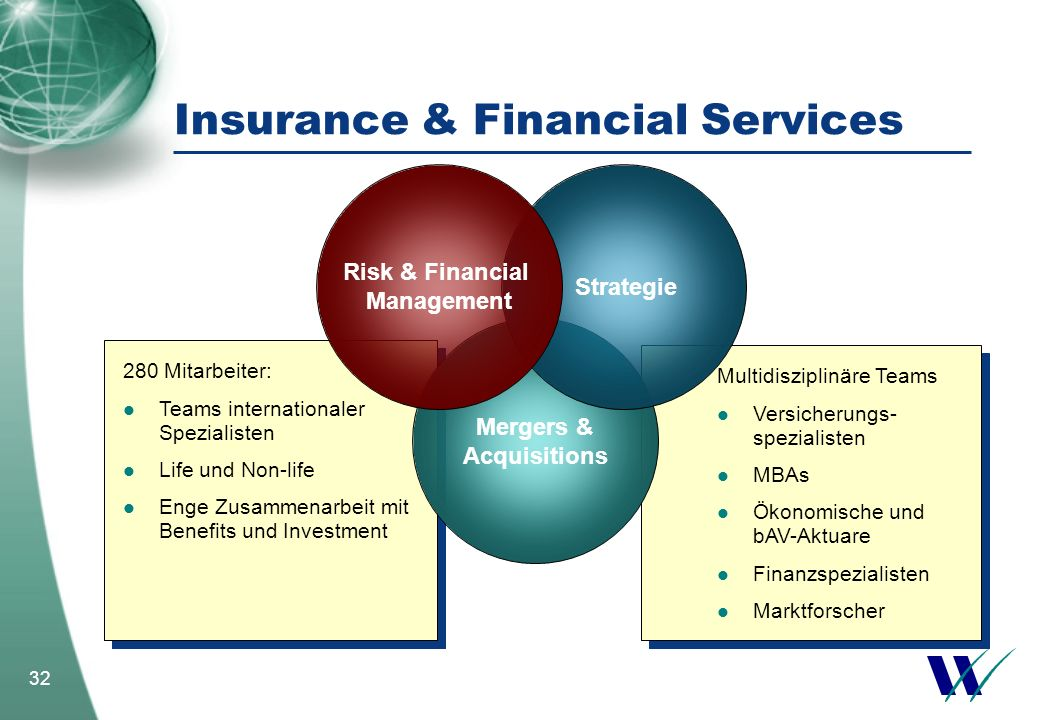 32 Multidisziplinäre Teams Versicherungs- spezialisten MBAs Ökonomische und bAV-Aktuare Finanzspezialisten Marktforscher Multidisziplinäre Teams Versi