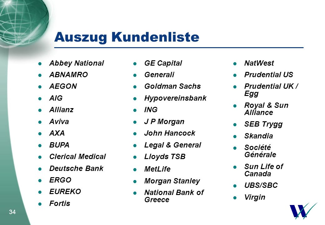34 Auszug Kundenliste Abbey National ABNAMRO AEGON AIG Allianz Aviva AXA BUPA Clerical Medical Deutsche Bank ERGO EUREKO Fortis NatWest Prudential US