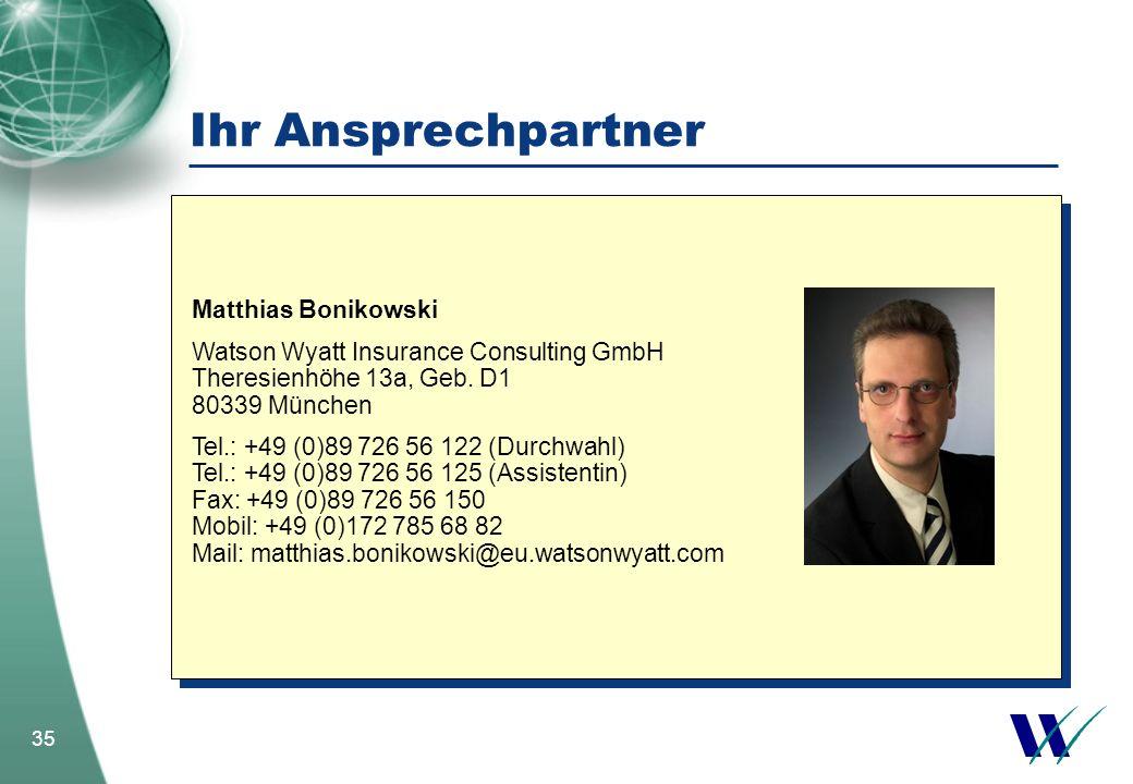 35 Ihr Ansprechpartner Matthias Bonikowski Watson Wyatt Insurance Consulting GmbH Theresienhöhe 13a, Geb. D1 80339 München Tel.: +49 (0)89 726 56 122