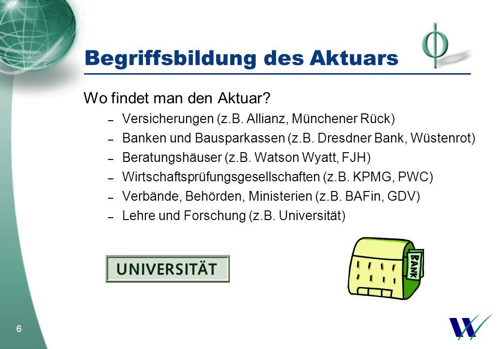 6 Begriffsbildung des Aktuars Wo findet man den Aktuar? – Versicherungen (z.B. Allianz, Münchener Rück) – Banken und Bausparkassen (z.B. Dresdner Bank