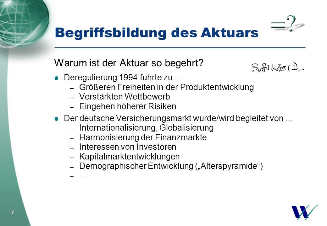 7 Warum ist der Aktuar so begehrt? Deregulierung 1994 führte zu... – Größeren Freiheiten in der Produktentwicklung – Verstärkten Wettbewerb – Eingehen