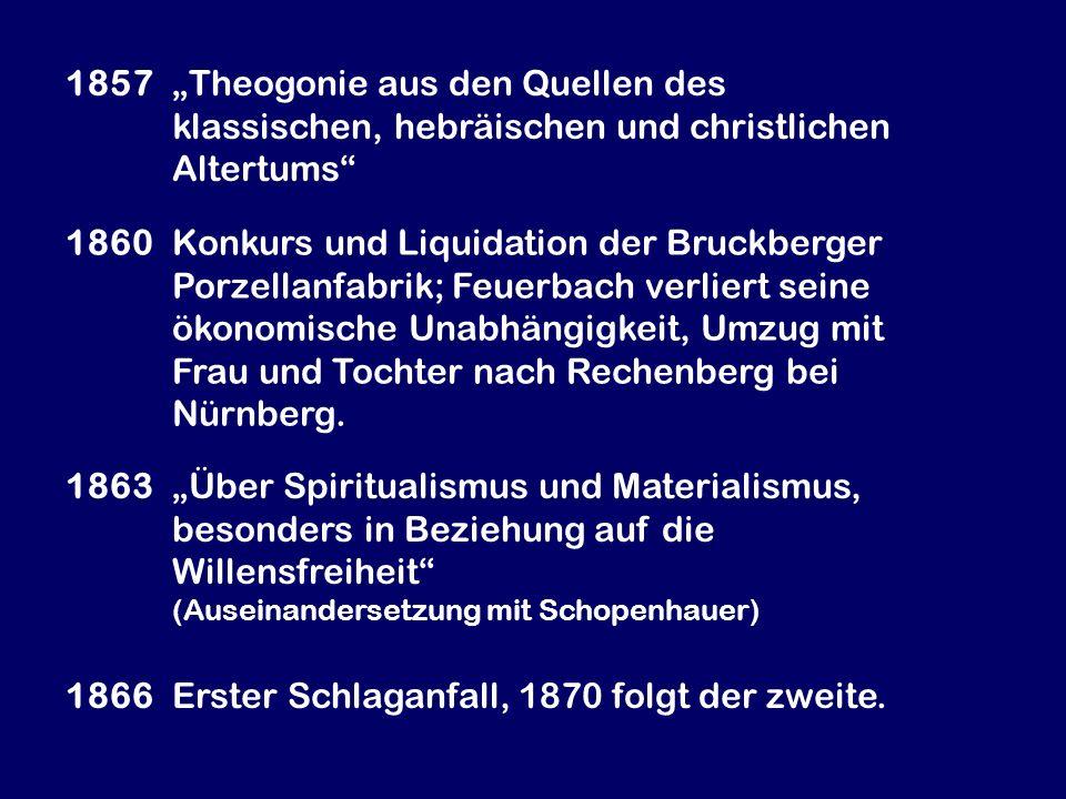 1857 Theogonie aus den Quellen des klassischen, hebräischen und christlichen Altertums 1860 Konkurs und Liquidation der Bruckberger Porzellanfabrik; F