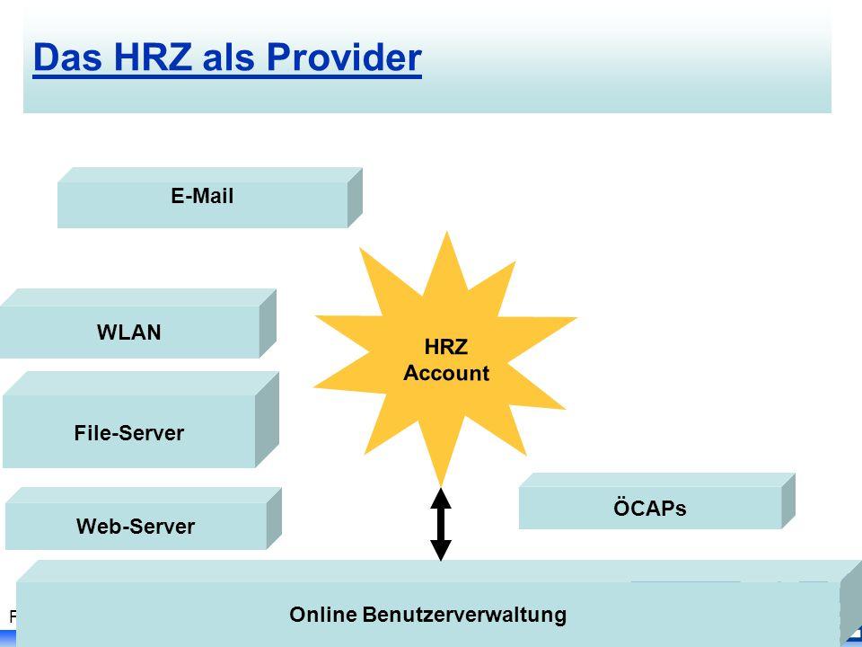 Folie 15, PC I Kurs - Johanna Vohwinkel, SS 2007 Das HRZ als Provider HRZ Account E-Mail WLAN ÖCAPs Online Benutzerverwaltung File-Server Web-Server