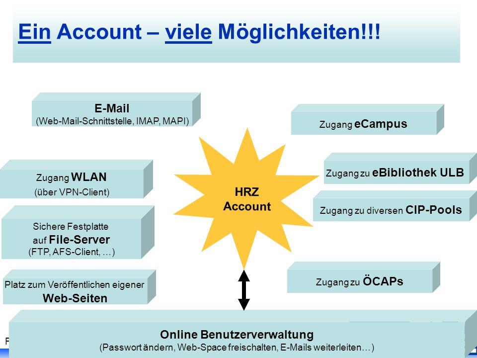 Folie 16, PC I Kurs - Johanna Vohwinkel, SS 2007 Ein Account – viele Möglichkeiten!!.